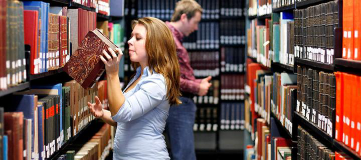 Photo of students in a library
