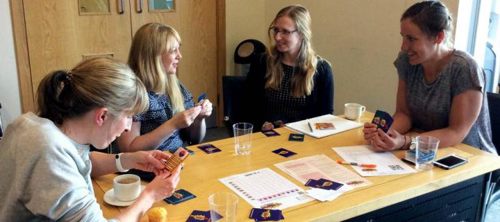 Teachers playing the Supercytes card game in last year's CPD workshop